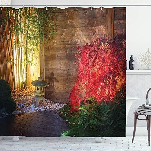 ABAKUHAUS Garten Duschvorhang, Japanischer Zen Bambus, mit 12 Ringe Set Wasserdicht Stielvoll Modern Farbfest und Schimmel Resistent, 175x200 cm, Mehrfarbig