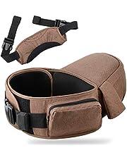 TWONE(最新型) ヒップシート ウエストキャリー 抱っこ紐 調節ストラップ付 収納袋付き (ブラウン)
