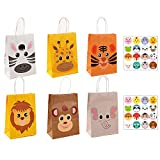 Animals Gift Bags, 12 Pcs Zoo Party Paper Bags with Animal Stickers, Sweet Candy Bags with Handles for Kids Party Birthday Halloween Christmas and Baby Shower Favor