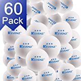 KEVENZ 60-Pack 3-Star Plus 40+mm White Table Tennis Balls,Advanced Training Ping Pong Balls