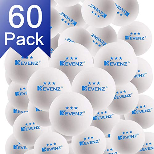 KEVENZ 60-Pack 3-Star 40+ White Table Tennis Balls,Advanced Ping Pong Ball