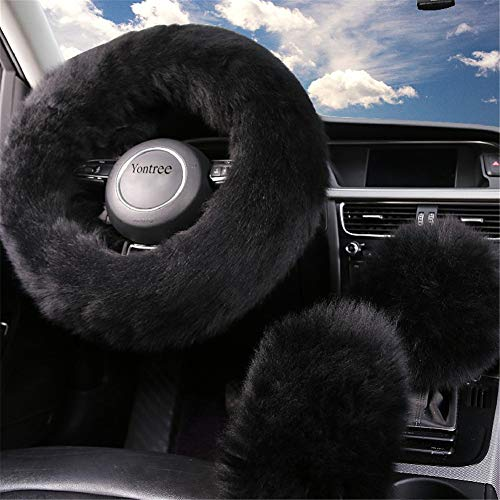 Yontree Fashion Fluffy Steering Wheel Covers for Women/Girls/Ladies Australia Pure Wool 15 Inch 1 Set 3 Pcs (Black)