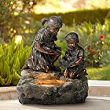 John Timberland Girl and Boy with Lily Pad Outdoor Floor Water Fountain with Light 23 1/2' High Cascading for Yard Garden Patio Deck Home