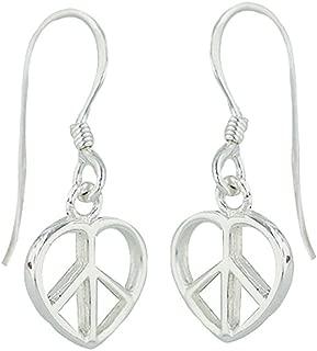 Tisoro 925 Solid Sterling Silver Tiny Dangling Heart Peace Sign Symbol Threader Earrings - Dangle Heart