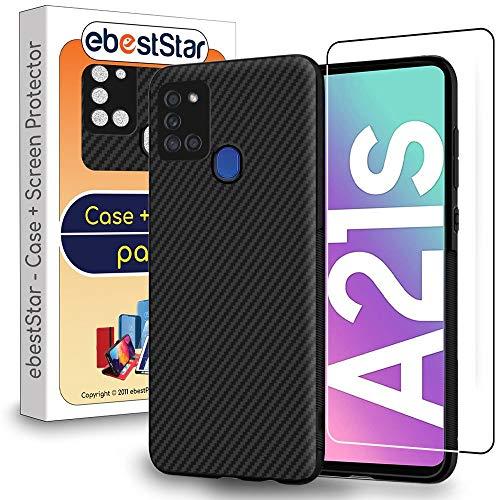 ebestStar - Funda Compatible con Samsung Galaxy A21S Carcasa Silicona, Protección Diseño Fibra Carbono Ultra Slim, Negro + Cristal Templado [A21S: 163.7 x 75.3 x 8.9 mm, 6.5'']