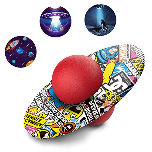 Pogo Ball for Kids&Adults Up to 200lb, Balance Coordination Bouncing Ball with Trick board for Weight Loss Body Toning Fitness, Hop Ball Trainer with Cool Fun Challenging Toys for Boys Girls (Red)