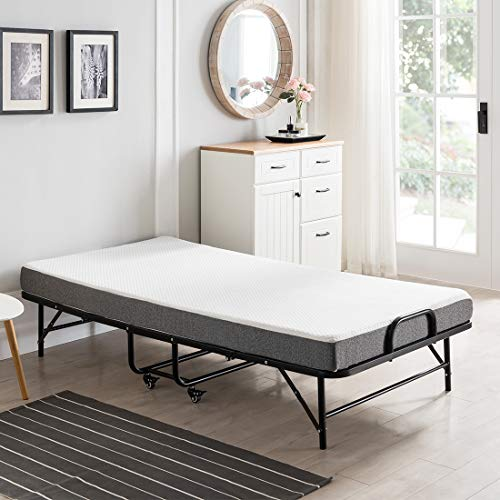 """Smile Back Folding bed Foldable bed Fold up Bed Rollaway Bed with Mattress for adults,Guest Bed Extra Bed Portable Bed on Wheels,5""""Memory Foam Mattress,Sturdy Metal Frame,Twin,Easy Set up,Space Saving"""