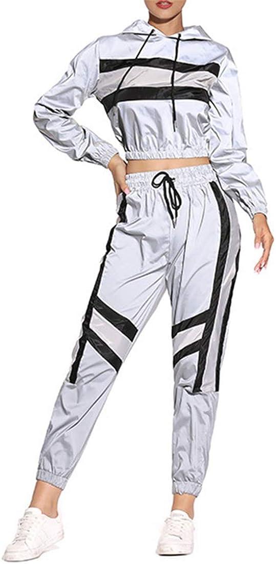 Conjunto de 2 piezas para mujer reflectante chándal ligero cortavientos, chaqueta y pantalones
