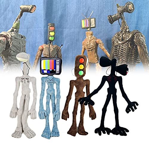 4 pezzi / 21,6 in bambole di peluche con testa di sirena, peluche a doppia testa spaventoso e testa leggera e testa TV e semaforo bambola in peluche per regali per ragazzi e ragazze