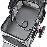 [pro.tec] Hundewagen Pet Stroller Hundebuggy Regenschutz zum Schieben Roadster inkl. Einkaufstasche Grau - 6