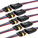 YETOR 16 AWG Way Car Waterproof Electrical Connector,4 pin Plug Auto Electrical Wire Connectors Marine for Car, Truck, Boat, and Other Wire Connections.(5 Pack)