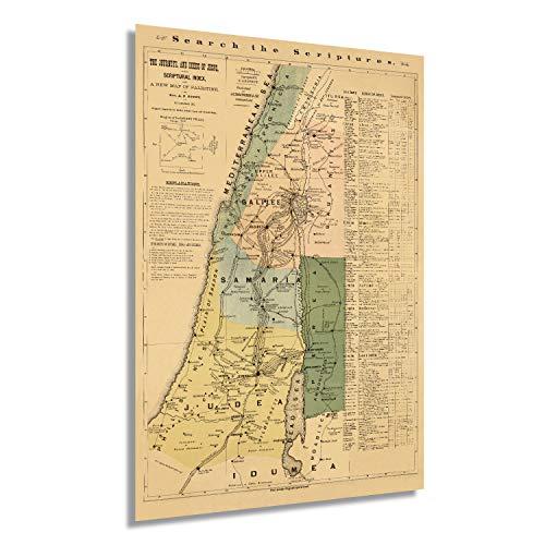 Historix Enhanced Vintage 1881 Biblische Karte von Palästina - Karte von Jerusalem - Palästina - Karte von Jerusalem - Palästina Karte - Bibelgeschichten-Poster - Vintage Karte (61 x 91 cm)