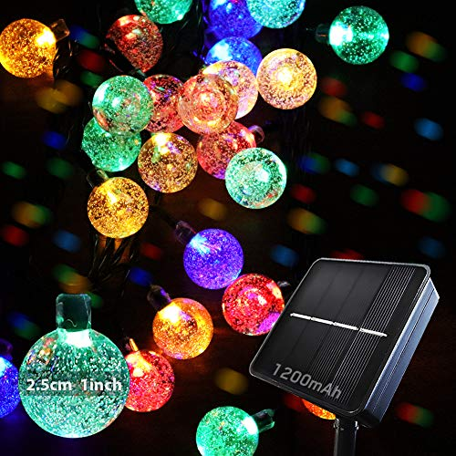 Solar String Lights Garden Outdoor Lights, BYSMAH 9M/30FT 50 LED Solar Powered, Waterproof Crystal Ball, 8Modes,for Tree Garden Patio Yard Parties Home Wedding Indoor Outdoor(Multi Color)