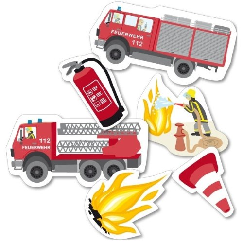 Set de décoration de table 24 pièces XXL pour anniversaire d'enfant Motif pompiers