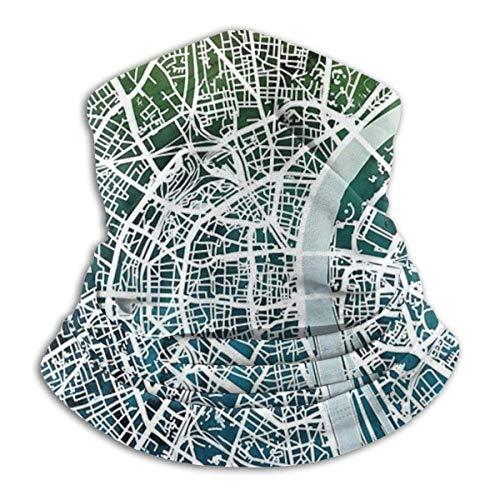 XXUU Colonia Alemania Mapa de la Ciudad Unisex Microfibra Cuello Calentador Cuello Polaina Mascarilla Hombres Pañuelo Multifuncional Mujer Bufanda Envoltura de la Cabeza Máscara Polvo Viento Sol Prot