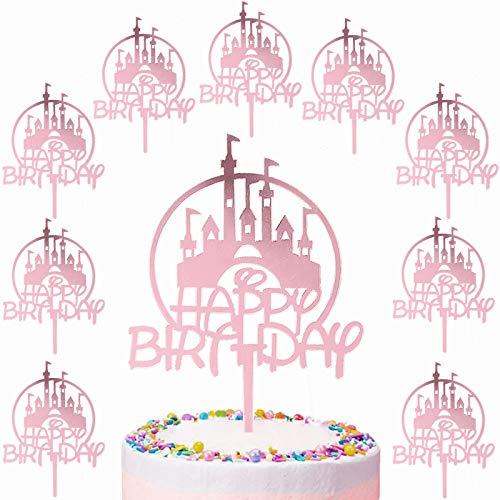 10 Pcs Happy Birthday Cake Toppers Decoración Toppers Castillo Princesa Decoración para Tartas de Cumpleaños para Cumpleaños Baby Shower Fiesta Temática Party Decoration (Oro Rosado)