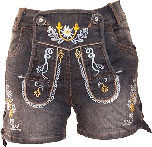 Almwerk Damen Trachten Jeans Lederhose kurz Modell Gina in blau und schwarz neu, Farbe:Schwarz, Größe:38