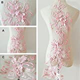 Delicado cristal 3D flor encaje apliques bordado diseño de encaje con detalles...