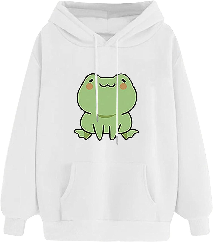 Women's Cartoon Frog Hooded Sweatshirt Casual Long Sleeve Tops Cute Hoodies Teens Girls Drop Shoulder Hoodie Pullover