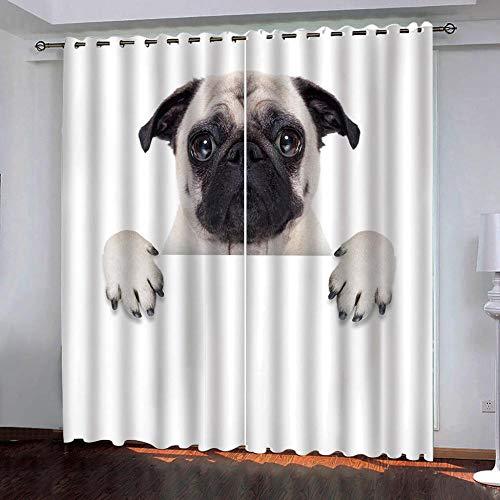 SUZIHUA Verdunkelungsvorhang 3D Welpe Massiver Vorhang Isolierung Fensterdekoration Öse Wohnzimmer Schlafzimmer...