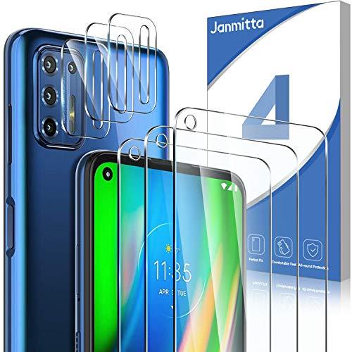 Janmitta für Motorola Moto G9 Plus Panzerglas Schutzfolie [3 Stücke] + Kamera Schutzfolie [3 Stücke], 9H Gehärtetem Glass [Anti-Kratzen] Linse Panzerglas HD Displayschutzfolie
