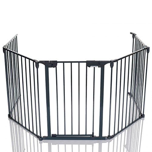 LCP Kids Baby Kaminschutzgitter Metall Laufgitter mit Sicherheitstür faltbar, 295 cm Länge, Grau