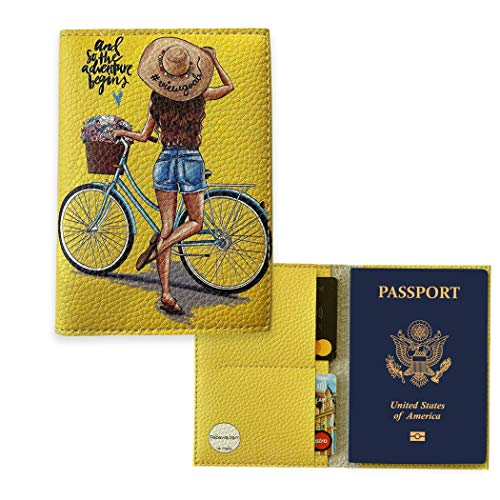 Adventure Begins Passport holder for Women Vegan Leather case Credit Card Id Wallet Yellow cover for documents travel organizer 2 card slots
