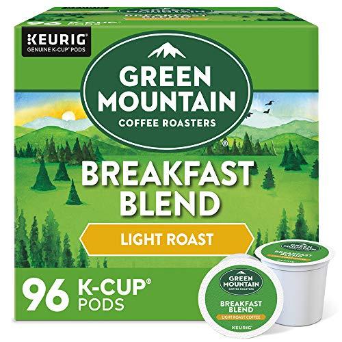 Green Mountain Coffee Roasters Breakfast Blend, Single-Serve Keurig K-Cup Pods, Light Roast Coffee Pods, 96 Count