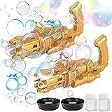 xiaom Gatling Bubble Machine, Bubble Gatling Gun, 2021 Cool Toys & Gift, 8-Hole Huge Amount Bubble Maker, Strong Tightness, Children's Bubble Gun for Summer Outdoor Activities (Two Golden)