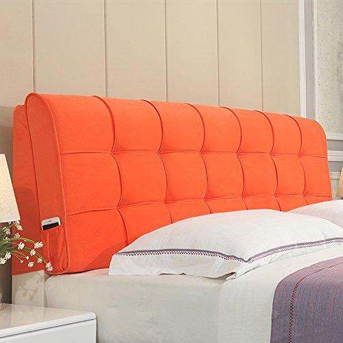 JXXDDQ Double tête de lit Coussins de Chevet Tissu Art Doux Cas de Chevet Grand Coussin arrière, Lits appropriés avec tête de lit, 4 Couleurs, 8 Tailles (Color : Orange, Size : 160cm)