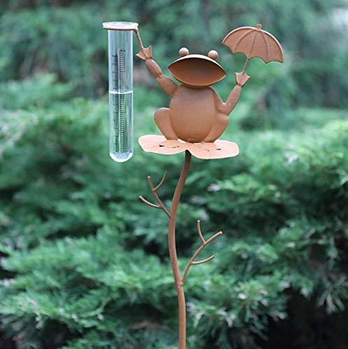 Emanhu Metall Garten-Deko Gartenstecker Regenmesser Frosch Beetstecker Rost Optik