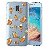 Unov Galaxy J7 2018 Case Clear with Design Slim Protective Soft TPU Bumper Embossed Pattern Cover for Galaxy J7 Crown J7 Refine J7 Star J7 V J7V 2nd Gen J7 Aero J737V(Hanging Sloth)