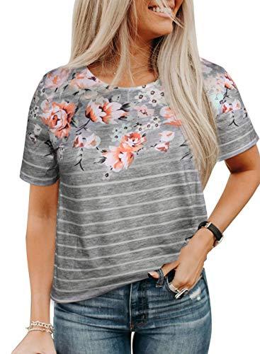 Blusa casual de verano con cuello redondo para mujer, con estampado a rayas, de color, ajuste holgado, con estampado floral, blusa de moda, túnica jersey