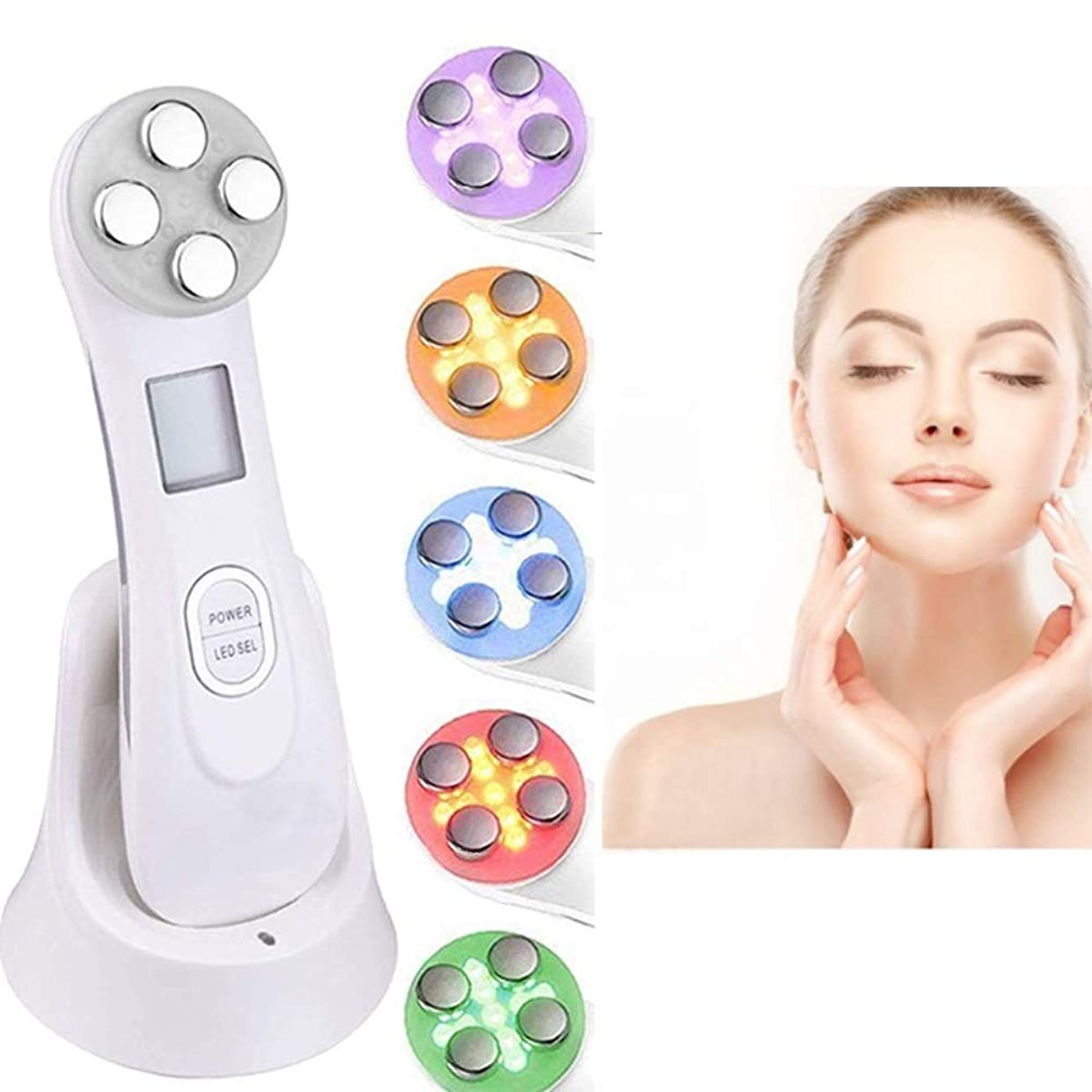 スキンケアの美機械、1つのRFの美の反老化のしわの取り外しに付き6つ、LEDライト療法の顔の持ち上がる若返りの皮の引き締めの白くなる収縮の気孔は、目のしわの心配を防ぎます