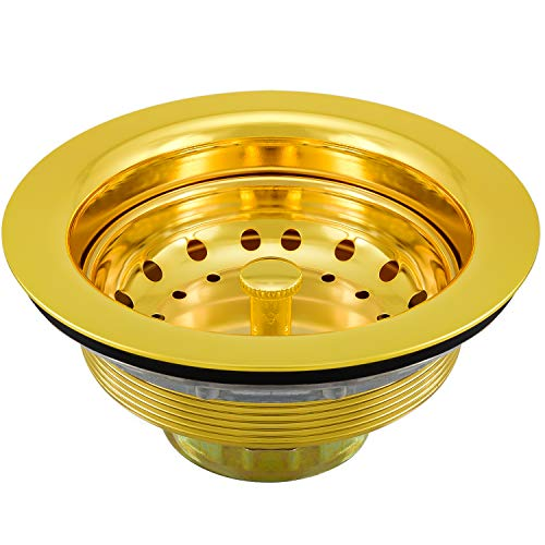 KONE 3-1/2 Inch Sink Drain Assembly Gold Sink Basket Strainer for Kitchen Sink Brass Drain Stopper Golden Stainless Steel Rustproof And Durable