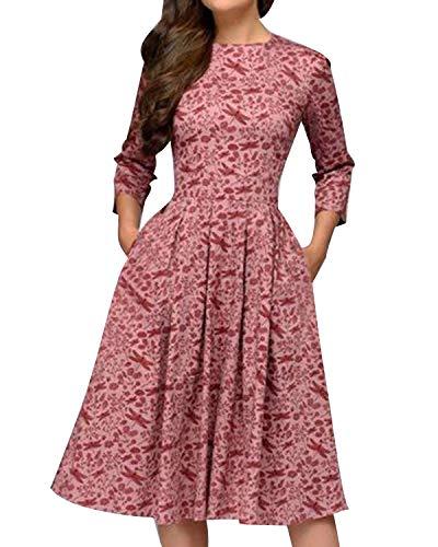MINTLIMIT Damen 1950er Vintage Retro Cocktailkleid Rockabilly Kleider Petticoat Faltenrock Festliche Party Kleider Rosa S
