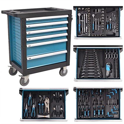Chariot à outils pour atelier avec 270 outils Acier et Bleu