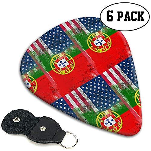 Portugiesische amerikanische Flagge Stilvolle bunte Celluloid-Gitarren-Auswahl-Plektren für Gitarren-Baß