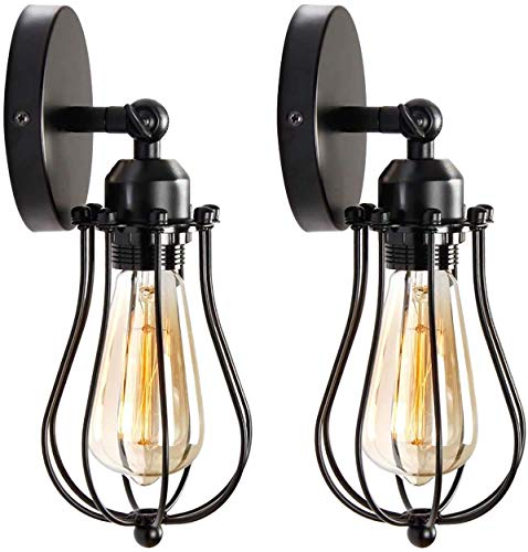 2 pack lámpara de pared de la vendimia E27 Industrial aplique de...