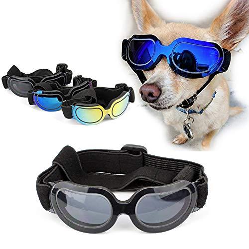 SymbolLife Gafas de Sol para Perros Gatos Perro Gafas para Perros pequeños y medianos Impermeable Protector Ocular Protección UV Antivaho Ajustable (Negro)