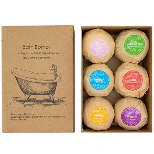 Alinice Badebomben Geschenkset, Bio & natürliche ätherische Öl Badebomben für trockene Haut Feuchtigkeit, 6 x 2,1 Unzen, die beste Weihnachtsgeburtstagsgeschenkidee für Sie / Ihn