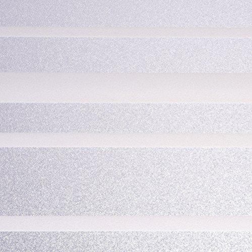 Venilia Fensterfolie Vitrostatic Streifen, Sichtschutz Folie, Milchglasfolie, Sichtschutzfolie Fenster, statisch haftend, PVC, transparent, 45cm x 1,5m, 200µm (Stärke: 0,2mm), 53243, 45 cm x 1,5 m
