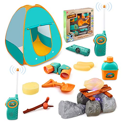 Kids Camping Play Tent, GrowthPic Outdoor Toys Camping Tools with Tent Campfire Telescope Walkie Talkies, Pretend Play Set for Toddlers Boys Girls Gift