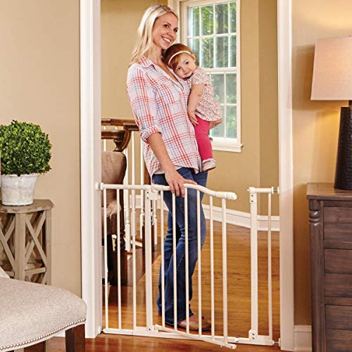 North States 38.25' Wide Arched Auto-Close Baby Gate with Easy-Step: Extra-low threshold bar reduces trip hazards. Pressure or hardware mount. Fits 28.5'-38.25' wide (30' tall, Soft White)