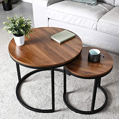 Best amzdeal Coffee Table for Living Room, Set of 2 Nesting Side Coffee Tables, Stable and Easy Assembly,