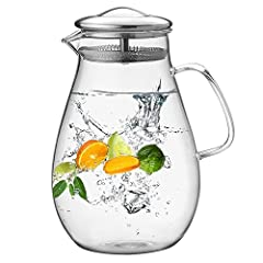 BOILING WATER DIRECTLY » This pitcher is made from borosilicate glass, withstand temperature 0 to 300 ℉, so you can pour boiling water into this pitcher safely CONSTRUCTED OF BOROSILICATE GLASS - STOVETOP SAFE » The absence of lead guarantees 100-per...