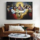 Tiancheng Art Cuadro de Lienzo Pinturas de la última Cena de Jesús en la Pared, la institución de la Eucaristía en Las Escrituras, Cuadros artísticos en Lienzo para la Sala de Estar 60x90cm