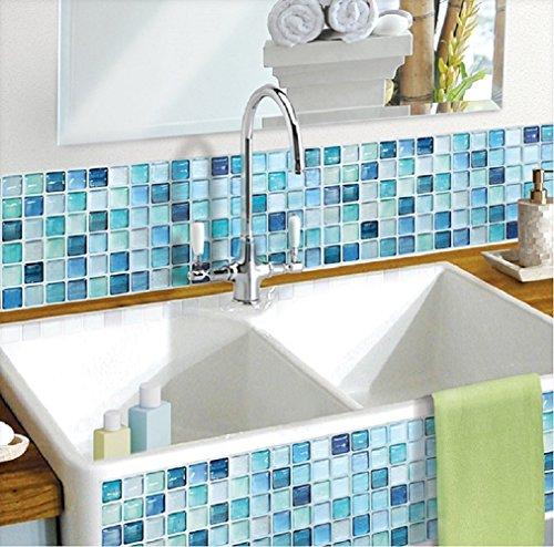 BEAUSTILE Decorative Tile Stickers Peel and Stick Backsplash Fire Retardant Tile Sheet (2pcs) (R, N.Blue)