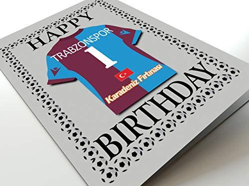 MyShirt123 UEFA Champions League & Euro League Fußball Themed Geburtstagskarten – jeder Name, Jede Nummer und jedes Team – kostenlose Personalisierung, Canvas, Trabzonspor Geburtstagskarte