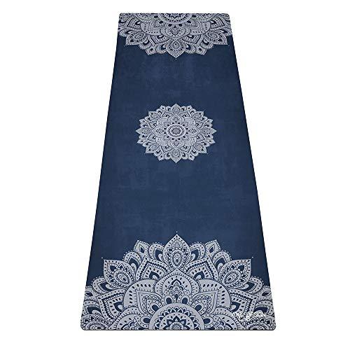 Yoga Design Lab The ComMMUTER - Alfombrilla de yoga ligera, plegable, toalla ecológica | 1,5 mm de grosor (Mandala Zafire)